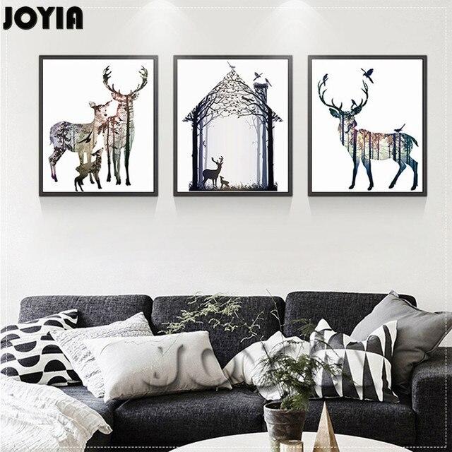 Tríptico pintura Decor Art Canvas familia feliz pared del Animal de ...