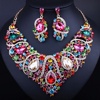 Indian Jewellery Multi color Crystal Necklace Earrings Bridal Jewelry Sets for Brides Party Wedding Earrings Sets Accessories
