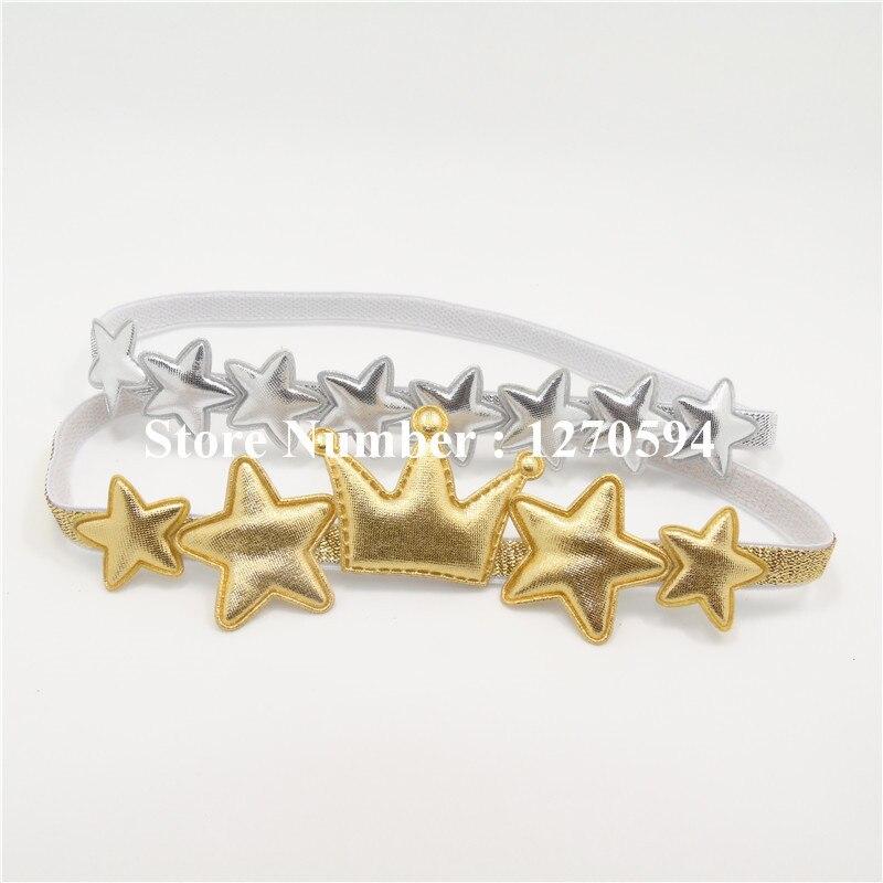 Одежда высшего качества Серебряная звезда Золотая Корона для девочек повязка на голову Малыш Hairband милой принцессы головной убор мода Фея оголовье аксессуары - Цвет: mixed design