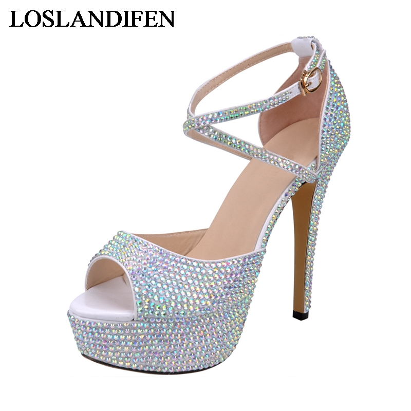 Buckle Sandals Summer Rhinestone 14 Cm Thin Heels Wedding Pumps Crystal Platform Women Party Shoes NLK-A0147Buckle Sandals Summer Rhinestone 14 Cm Thin Heels Wedding Pumps Crystal Platform Women Party Shoes NLK-A0147