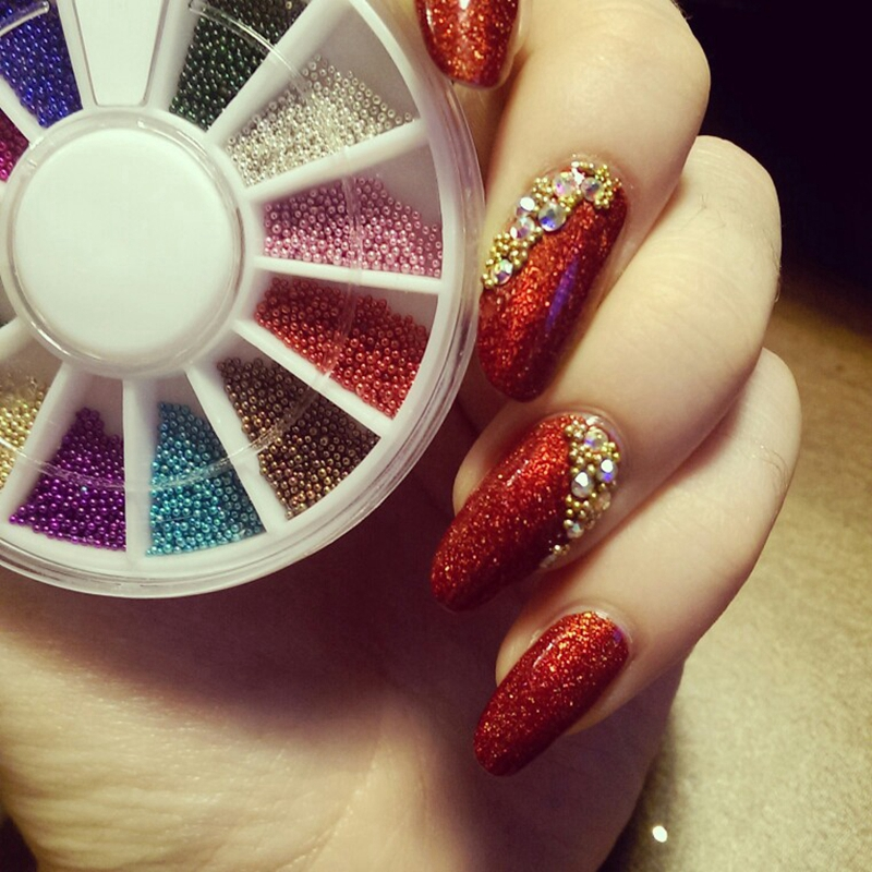 12 Colors Caviar Beads Nail Art Studs Charms 3d Diy Glitter