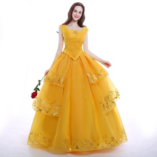 Emma Watson Yellow Belle Dress Halloween Costumes for Adult Women Beauty and the Beast Belle Cosplay costume Custom Made Dress все цены