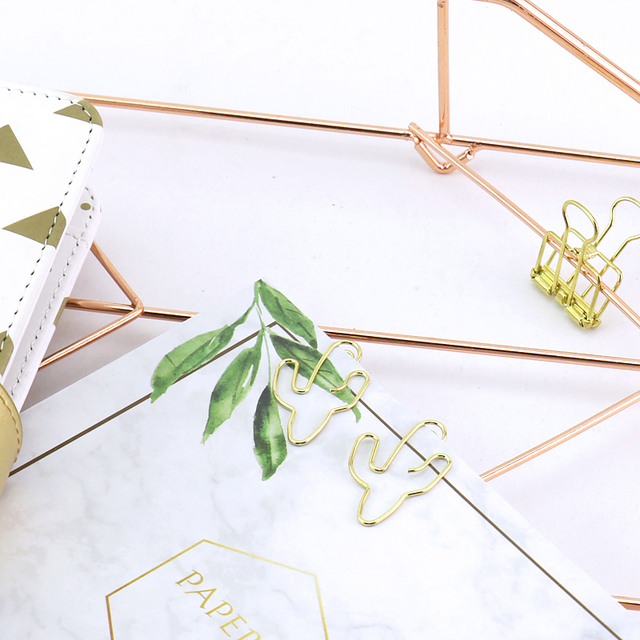 Cactus Shaped Gold Color Paper Clips