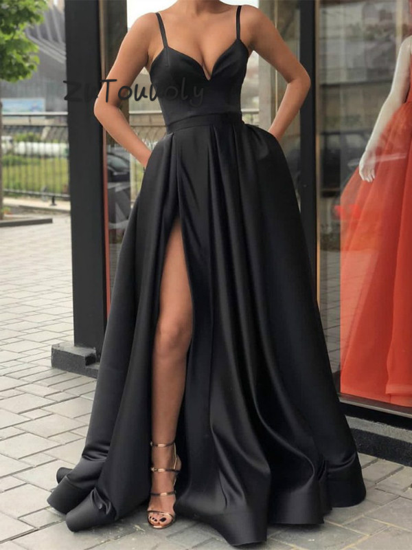 Simple Black A Line   Prom     Dress   With Pockets Slits Long Satin Formal Party Evening Gown Cheap Plus Size Summer Holiday   Dress   2019
