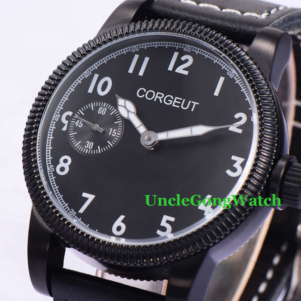 Corgeut 45mm Black Dial White Marks WristWatches 6497 Mens Mechanical Hand Winding Watch Luminous Relojes CM2003BPB