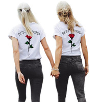 Floral 1 Pcs Rose Letter Womens Tee Shirts Spring Summer Womens T Shirts Plus Size Ladies