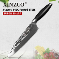 XINZUO 8'' Chef Knife High Corbon 3 Layer 440C Core Clad Steel Stainless Steel New Arrival Kitchen Cook Knives with G10 Handle