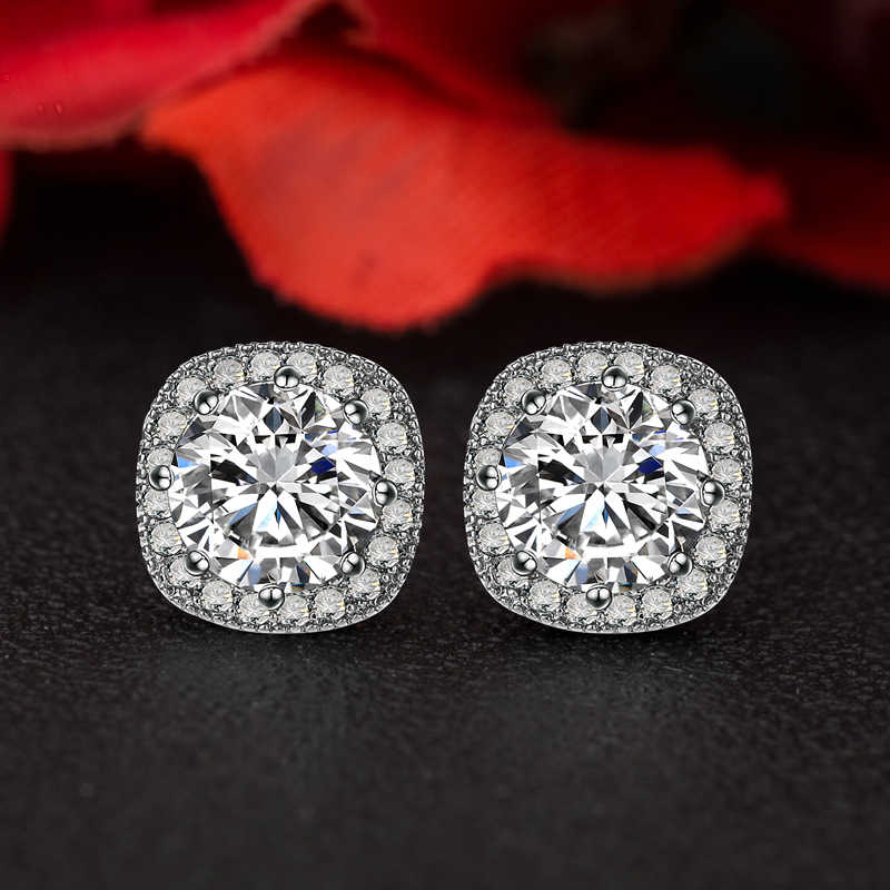 9.5mm Fashion Women earrings AAA Cubic Zircon Copper Micro setting CZ stones Stud earrings
