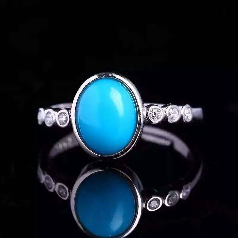 Natural green turquoise Ring Natural gemstone Ring 925 sterling silver trendy luxurious Elegant round women s