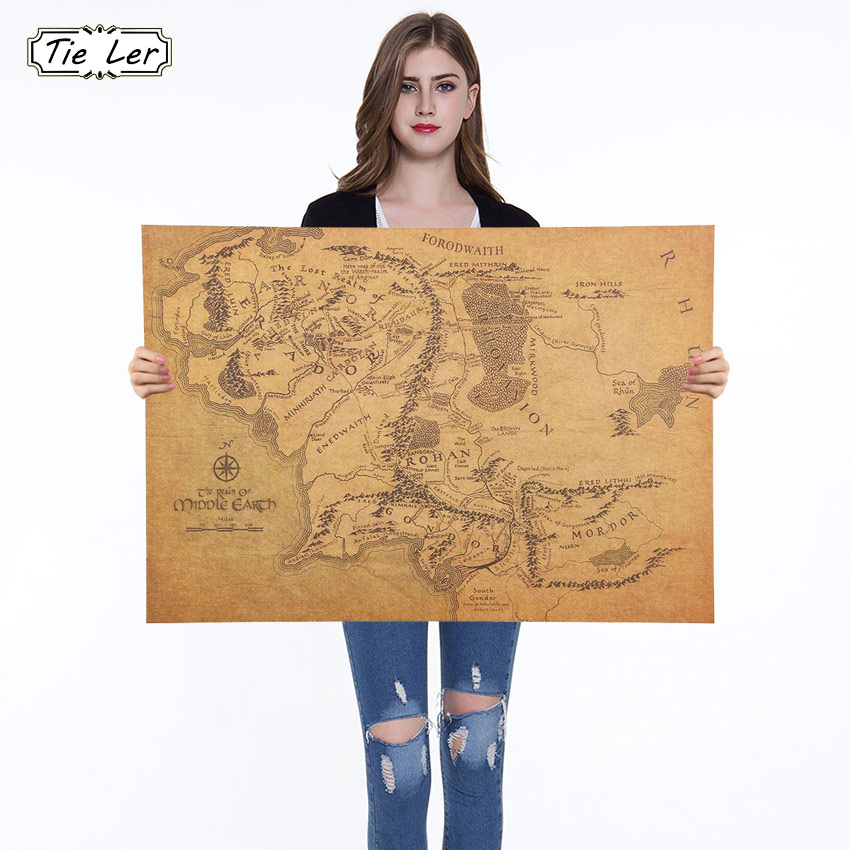 1PC 1 Pcs The Rings Middle Earth Map The Retro Kraft Paper Poster Movie Posters Bar Decoration Wall Sticker