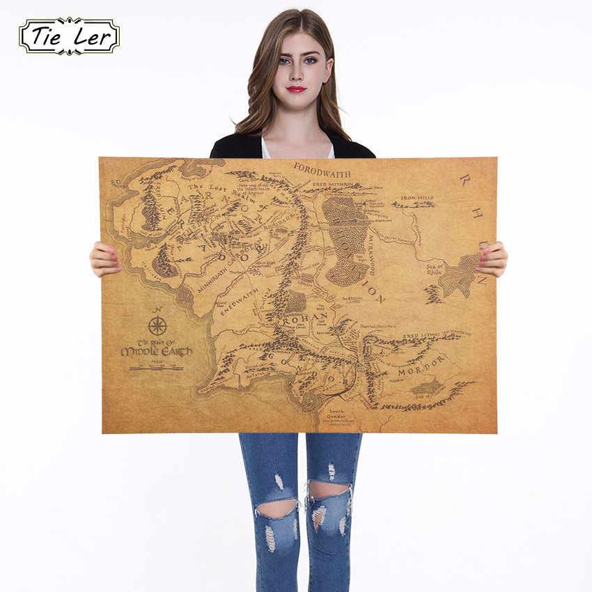 1PC 1 個リングミドルアースの地図レトロなクラフト紙のポスター映画ポスターバー装飾壁ステッカー