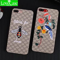 LoveCase Luxury Brand Embroidery For IPhone7 7plus Tiger Bird Animal Pattern Phone Case For IPhone 6