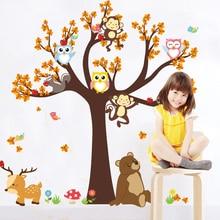 3D Cartoon Forest Tree Branch Animal Owl Monkey Bear Deer Wall Stickers For Kids Rooms Boys Girls Children Bedroom Home Decor chic cartoon owl flower tree branch pattern scarf for women