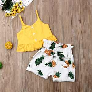 Pudcoco Kid Baby Girl Cropped Ruffles Crop Tops Shirt Pineapple Print Short Pants 2pcs Outfit Clothes Children Summer Sets(China)