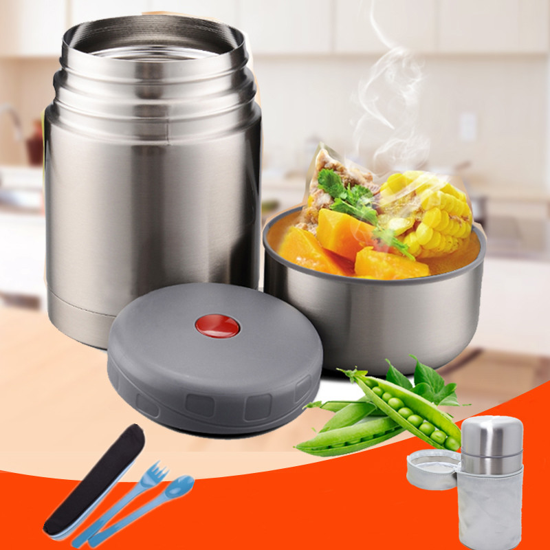 Vacuum Stew Pot Insulation Straight Cup Insulation Stainless SteelBeaker Lunch Porridge Soup Pot Thermos For food with container