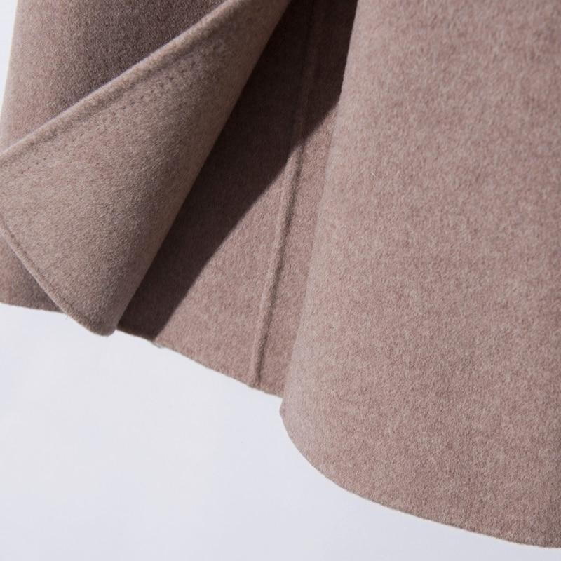 Femmes rose Beige Automne Hiver kaki Mode Double Turn Laine Col Cachemire down 100 gris Manteau Casaco Printemps Et De qUAxBwFZI