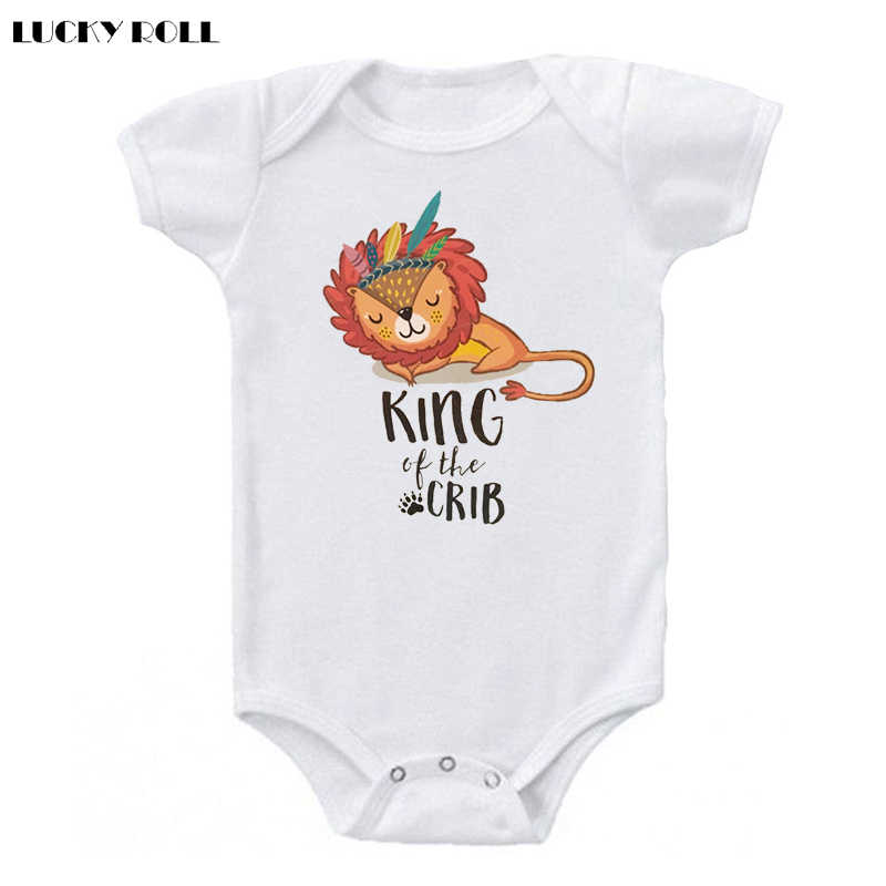 2ce0091d4 Detail Feedback Questions about LUCKY ROLL King Of The Crib Lion Print Newborn  Baby Bodysuit Clothes Infant Kids Summer White Jumpsuit Short Sleeve 0 24M  ...