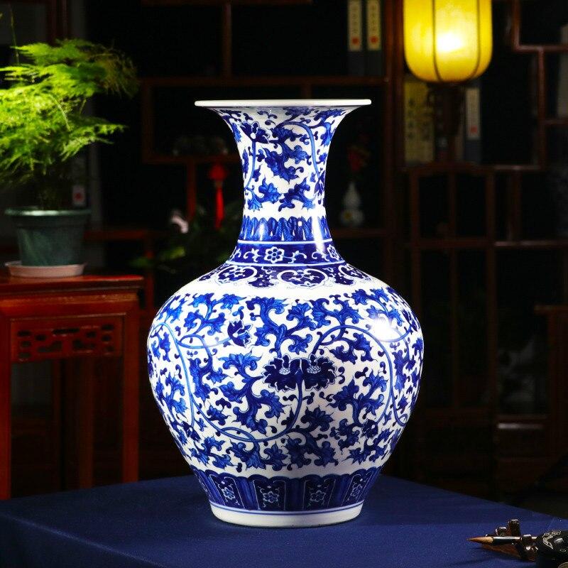 Chinese modern jingdezhen master hand-painted blue and white porcelain lotus vas