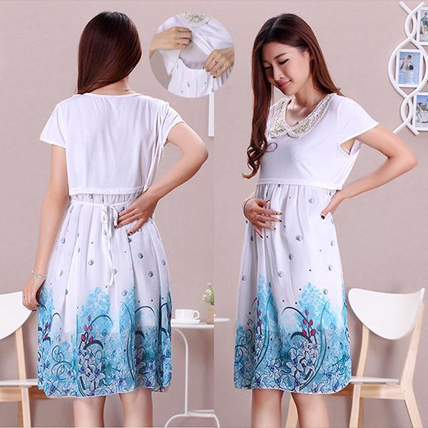 e8e931e709f Hot sale Summer Cotton Chiffon Patchwork Maternity Dresses plus size Slim  casual Nursing Dress loose Breastfeeding Dress Nursin