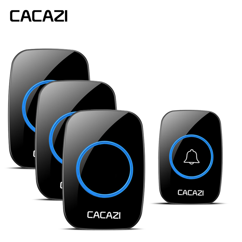 CACAZI Home Wireless Doorbell 100-240V EU/UK Plug Waterproof LED Cordless Bell 1 Push Button +3 Receivers 3 levels 38 Chime wireless cordless digital doorbell remote door bell chime waterproof eu us uk au plug 110 220v