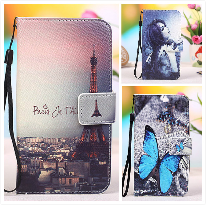 Fashion Cartoon Painting PU Leather Stand Flip Cover Cases For Lenovo A6000 Plus Case With Card Slot& Lanyard gift