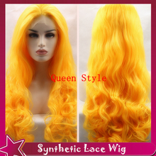 Cheap Cosplay Wigs Body Wave Yellow Hair Products European Princess&Queen Hairstyle Synthetic Lace Front Wig Middle Part Style