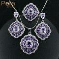 2017 Design Elegante Grande Praça Áustria Cristal de Ametista Roxo 3 peça 925 Sterling Silver CZ Conjuntos de Jóias Para Mulheres Presente J164