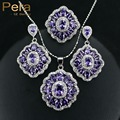 2017 Elegante Diseño Cuadrado Grande Cristalino de Austria Amethyst Púrpura 3 pieza de Plata de Ley 925 CZ Sistemas de La Joyería Para Las Mujeres Regalo J164