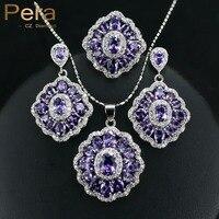 2016 Elegant Design Big Square Austria Crystal Amethyst Purple 3 Piece 925 Sterling Silver CZ Jewelry