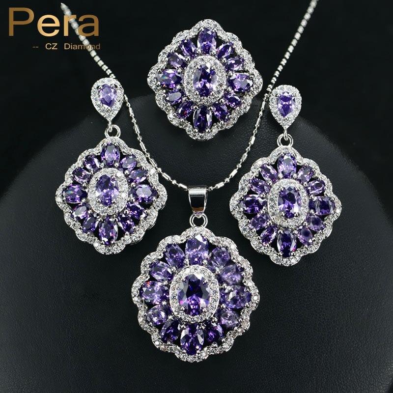 Pera CZ элегантный Дизайн большой площади Австрия кристалл фиолетовый камень 3 предмета 925 стерлингов Серебряные комплекты ювелирных изделий для Для женщин подарок J164