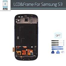 Pantalla LCD Para Samsung Galaxy S3 SIII i9300 i9305 i747 i535 Pantalla LCD Táctil de Cristal Digitalizador Asamblea Con marco Libre herramientas