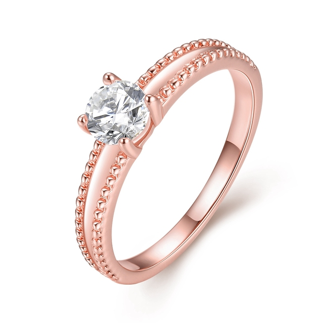 Rose Gold Color Ring With A Stone Fashion Costume Jewelry Wedding Rings For Women