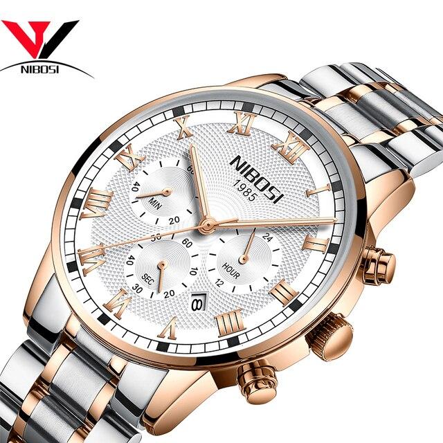 362be489a56 NIBOSI Relogio masculino Relógios Homens Pulseira de Couro relógio de Pulso  Do Esporte Dos Homens de