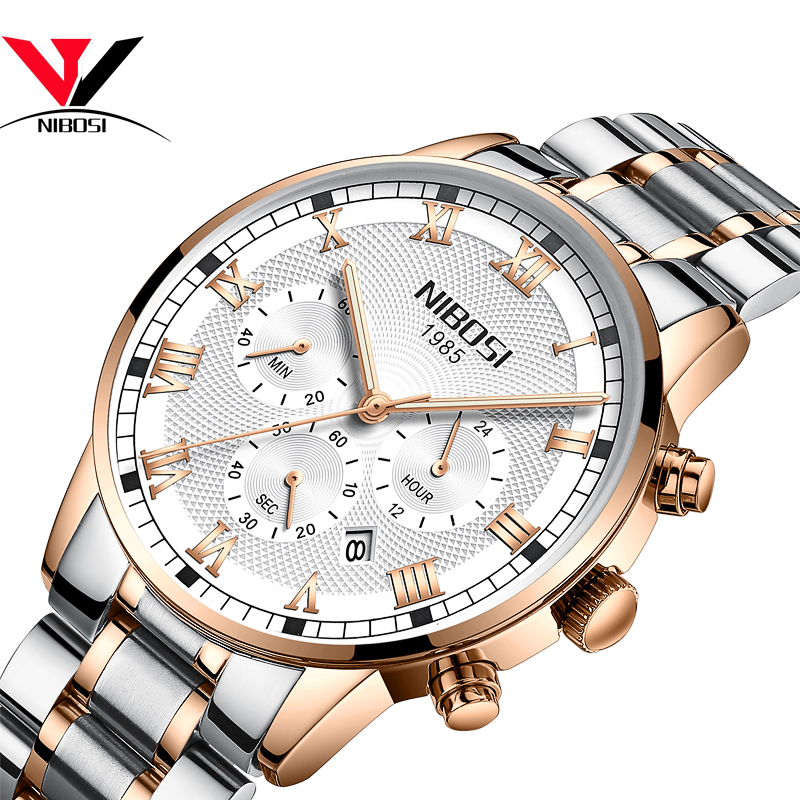 Relogio Masculino NIBOSI Watches Men Leather Band Quartz Wrist Wristwatch Mens Sport Watches Men Waterproof Fashion Full Steel