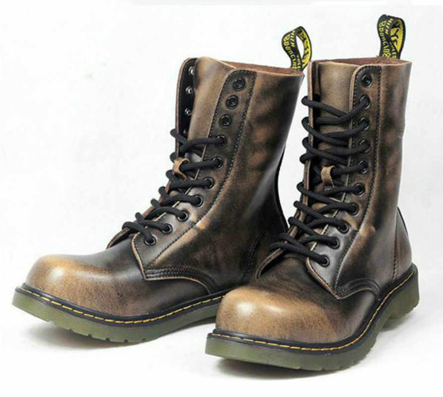Vintage militaire Combat bottes hommes bottes hautes en cuir véritable chaussures hommes moto bottes équitation homme chaussures à lacets