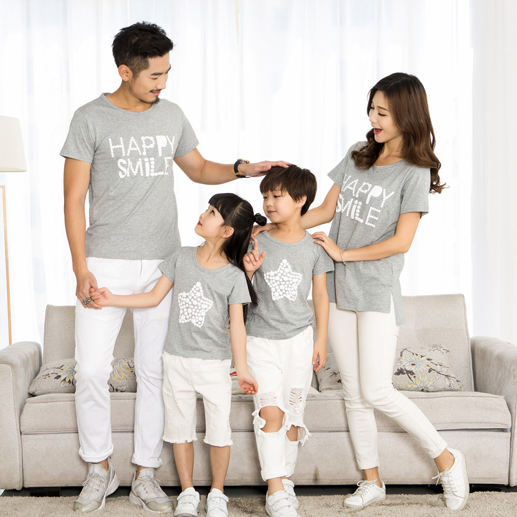 7059a23a ChanJoyCC Family Matching Outfits T shirt Summer New Mom Dad Baby Boy Girl  Print Letter Star Short Sleeve T shirt Kid Cotton100%-in Matching Family  Outfits ...