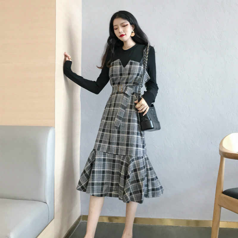 Two Piece Set Outfits Spring Summer Dress Women Clothes 2019 Korean Vintage Party Dress Shirt + Strap Dress Midi ZT2101