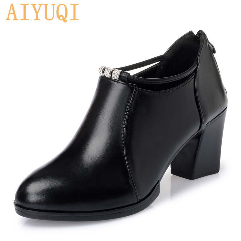 AIYUQI Women office shoes 2019 new Chunqiu Period genuine leather women dress shoes Trend high heeled women 39 s party shoes women in Women 39 s Pumps from Shoes