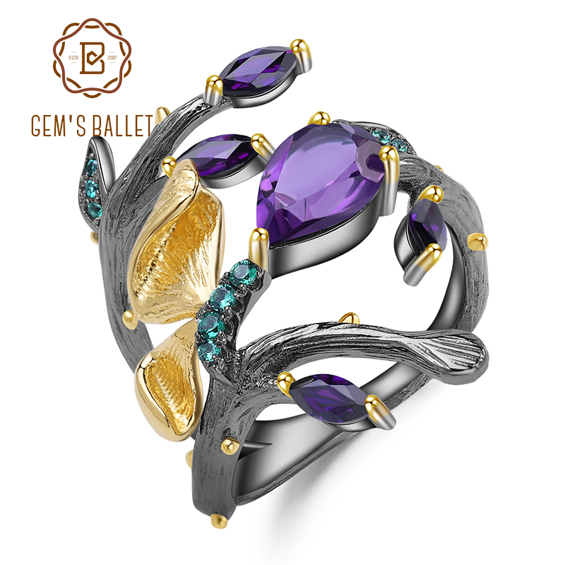 GEM'S BALLET 2.37Ct Natural Amethyst Ring Real 925 Sterling Silver Original Handmade Butterfly On Branch Rings For Women Bijoux