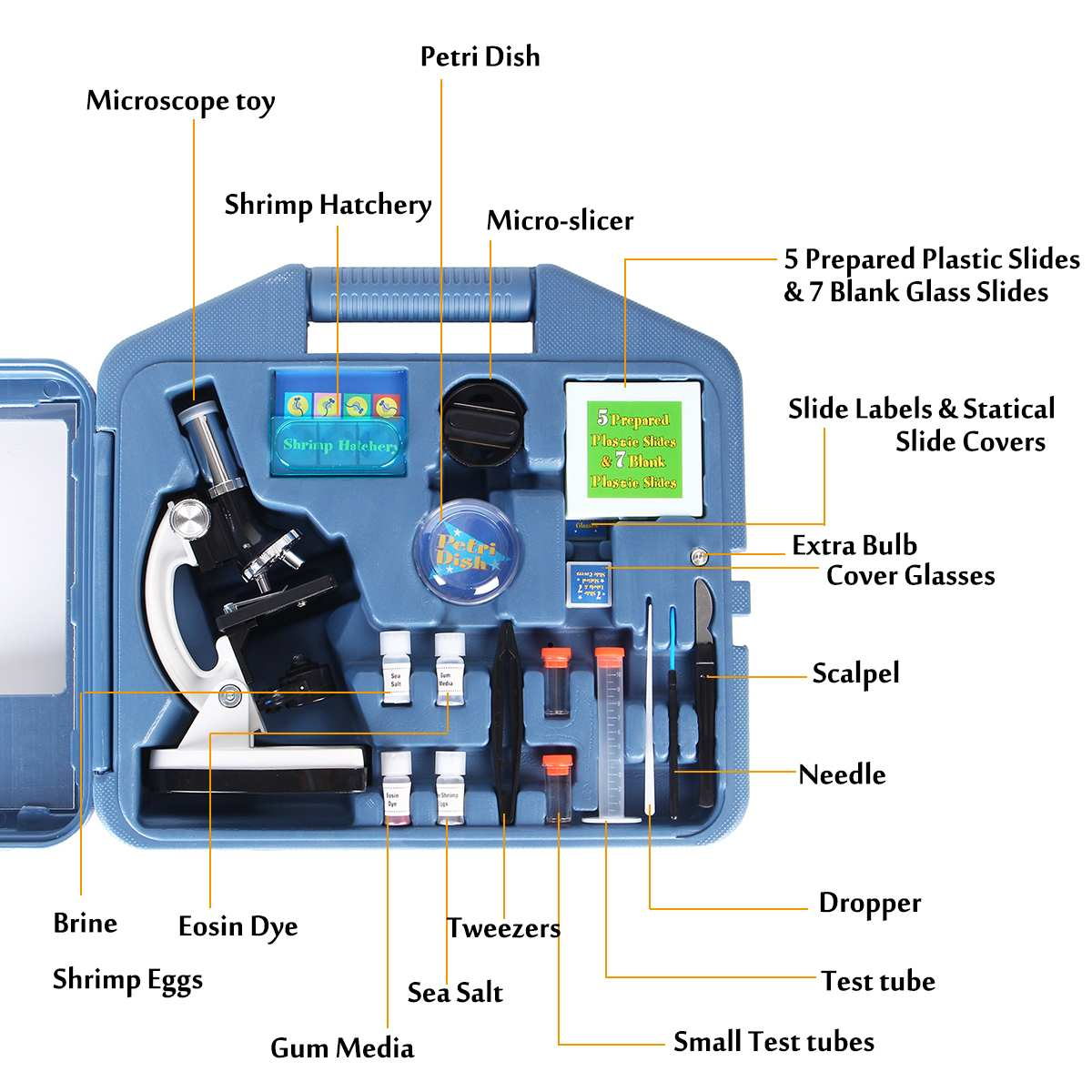 Zeast 300/600/1200X Kit de Microscope étudiant LED de laboratoire à domicile école jouet éducatif cadeau Microscope biologique pour enfants ensemble d'outils - 4