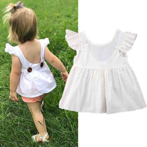 น่ารักทารกแรกเกิดเด็กวัยหัดเดินเด็กสาวเปลือยลูกไม้ท็อปส์ซูแขนกุดเสื้อยืด Sundress ฤดูร้อนเสื้อผ้า 0-3Years