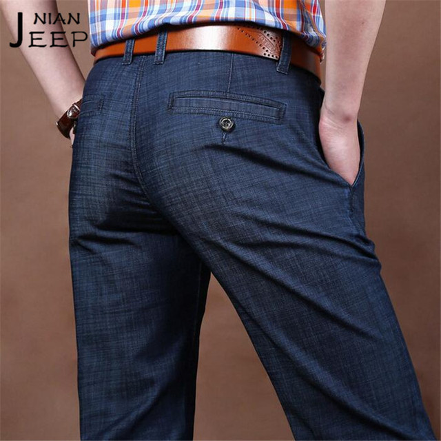 NIAN JI PU Plaid Man's Buttons back pockets Straight denim trousers,Mid Waist Light Elasticity Summer/Autumn Ventilate Jeans