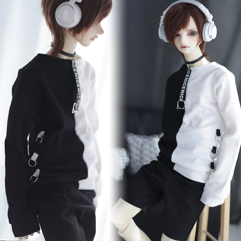 NEW BJD Doll Clothes 1/3 Uncle SD Doll Black white circular ring Everyday T-shirt/Tops accept custom european style black leather suit bjd uncle 1 3 sd ssdf doll clothes
