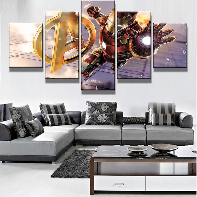 5 Panel Avengers Age Of Ultron Iron Man Modern Home Wall Decor Canvas Picture Art