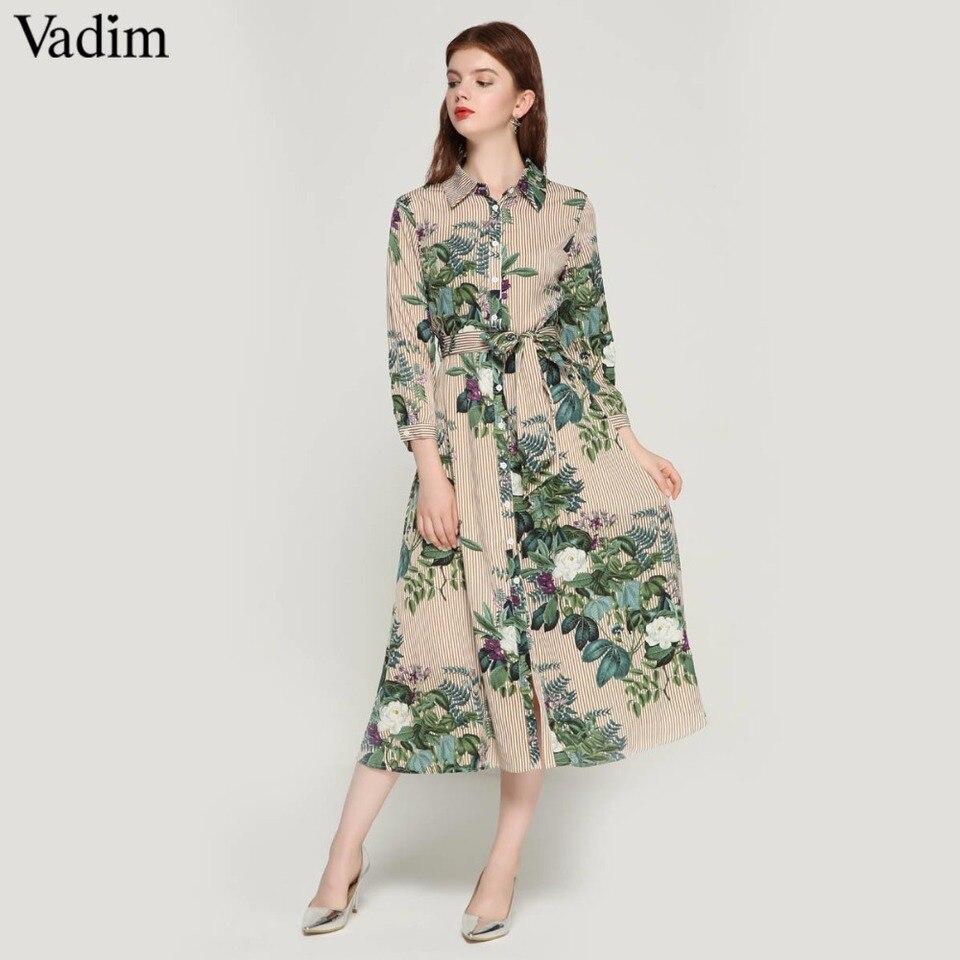Vadim frauen vintage floral striped midi kleid fliege schärpen langarm  plissee weibliche casual chic kleider vestidos QA17