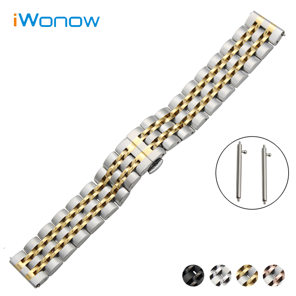 Stainless Steel Watchband 18/20/22mm for Seiko Watch Band Quick Release Strap Butterfly Buckle Wrist Bracelet Black Gold Silver 18mm 20mm 22mm quick release watch band butterfly buckle strap for tissot t035 prc 200 t055 t097 genuine leather wrist bracelet