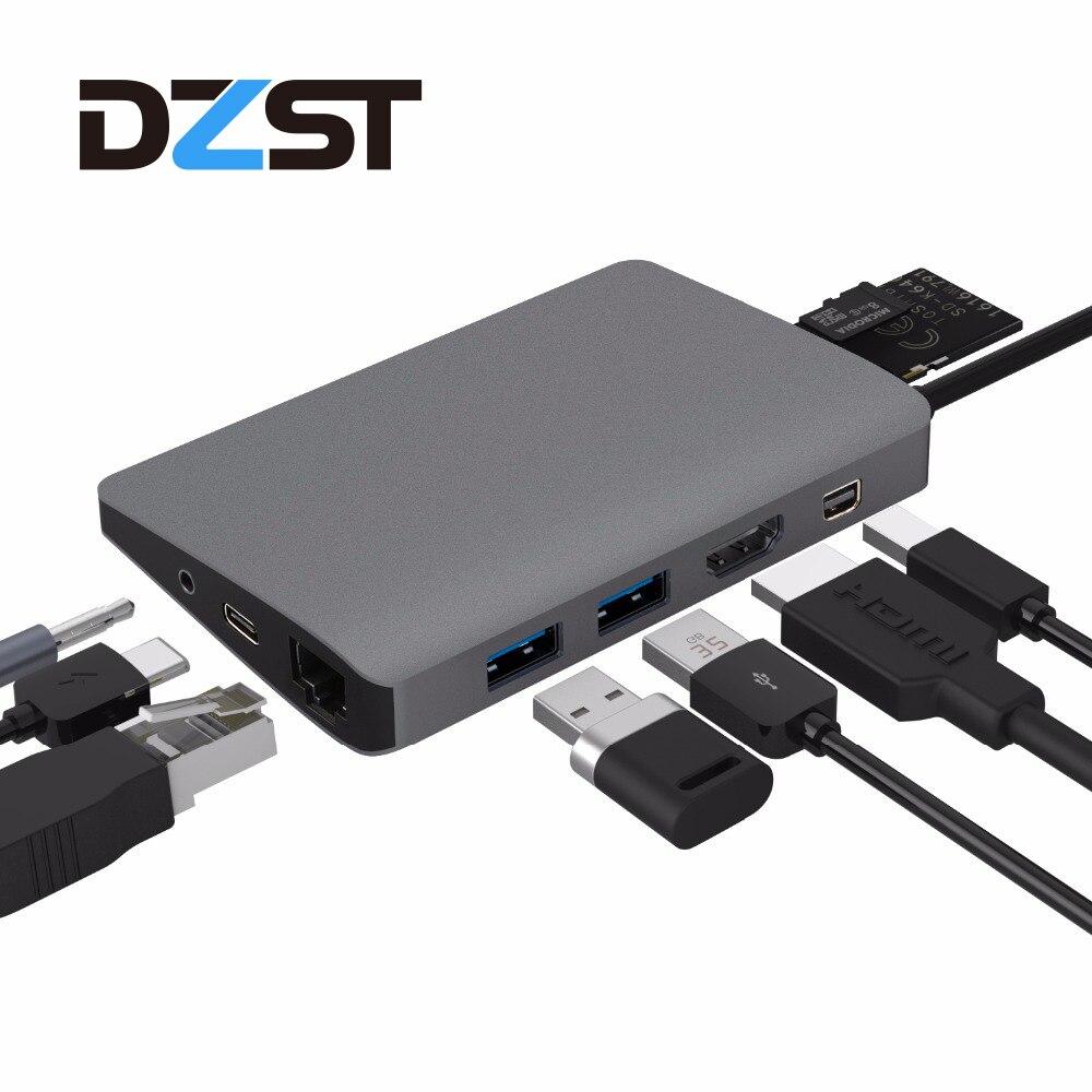 DZLST USB Type C Hub à USB/HDMI/RJ45/Mini DP/SD Carte Lecteur Audio Répartiteurs pour MacBook Samsung S9 Huawei P20 Thunderbolt 3 Hub