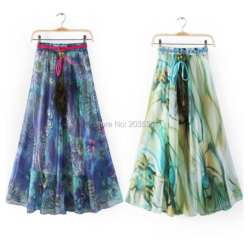 Long Floral Skirts - Skirts