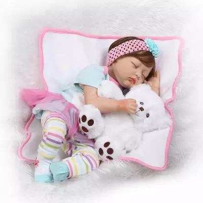 55cm Soft Silicone Girl Princess Dolls Lifelike Newborn Babies Alive Bebe Reborn Baby for Child Play House Bedtime Toy Gifts