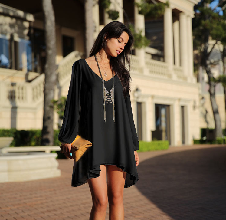 Black Summer Dress 2018 Casual Plus Size Women Clothing Long Sleeve Solid Color Chiffon V Neck Beach Dress Loose Party